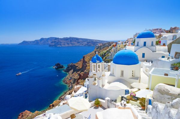 Santorini Greek Islands iconic roof top Holidays