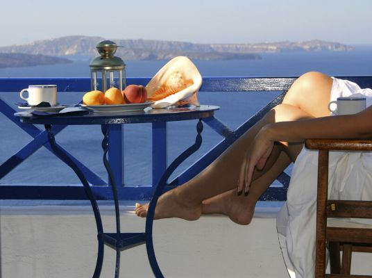 Women relaxing on Santorini
