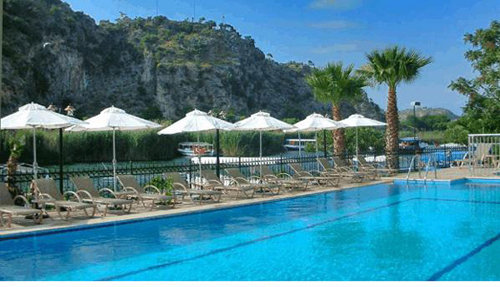 Pool area at the Dalyan Tezcan Hotel
